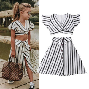 2pcs Clothes Set Baby Toddler Girls Striped Crop Tops Skirt Dress - shopbabyitems