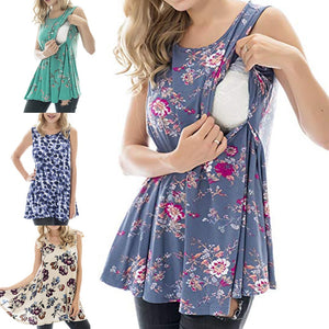 Women Maternity Casual Sleeveless Breastfeeding Clothes Floral Print Nursing Top - shopbabyitems