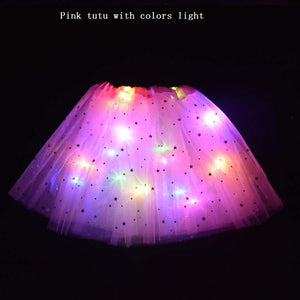 Adult Child Neon Party Led Clothes LED Light Star Tutu Skirt Ear Hairband Glow Angel Costume Birthday Gift Wedding Christmas - shopbabyitems