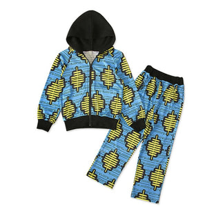 Dashiki Print Hodded Coat Pants Suit Autumn Full Sleeve African Dresses for Women Kids - shopbabyitems