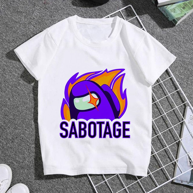 Among Us Video Games white cotton children T Shirt Harajuku Infant Short Sleeve T-shirt Summer Tshirt Clothes 2020 camiseta - shopbabyitems