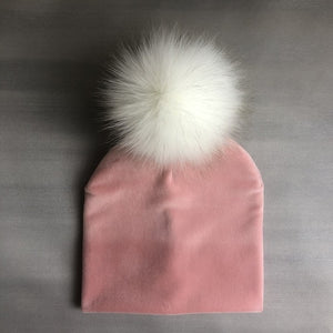 Autumn Winter Kids Girls Solid Velvet Hat With Pompon Baby Beanie Pompom Cap Children's Accessories - shopbabyitems