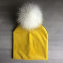 Load image into Gallery viewer, Autumn Winter Kids Girls Solid Velvet Hat With Pompon Baby Beanie Pompom Cap Children's Accessories - shopbabyitems