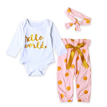 Load image into Gallery viewer, Baby Girls HELLO WORLD Romper Tops+Pants Clothes Outfit Sets - shopbabyitems