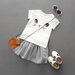 Baby Girls Outfits Clothes Cat Print Short Sleeve - shopbabyitems