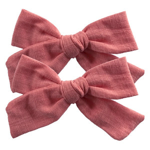 2 PCS 4-inch Cotton Fabric Bow clips Baby Girls hand knot hair bow clips Barrettes Hairgrips Headwear Hair Accessories - shopbabyitems