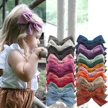 Load image into Gallery viewer, 2 PCS 4-inch Cotton Fabric Bow clips Baby Girls hand knot hair bow clips Barrettes Hairgrips Headwear Hair Accessories - shopbabyitems