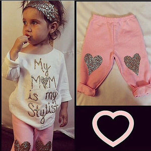 Kids T-shirt Tops + Long Pants Trousers 2pcs Outfit Clothing Set - shopbabyitems