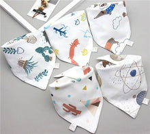 Load image into Gallery viewer, Baby Bibs Triangle Double Cotton Bibs 5 pieces/lot Cartoon Print Saliva Towel - shopbabyitems