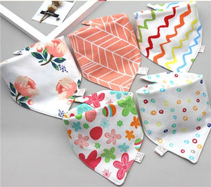 Baby Bibs Triangle Double Cotton Bibs 5 pieces/lot Cartoon Print Saliva Towel - shopbabyitems
