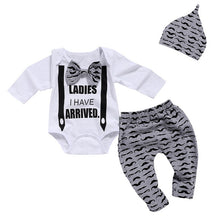 Load image into Gallery viewer, Baby Boy Clothes Set Newborn Clothes Bow Tie Bodysuits+Mustache Print Pant+Cap Autumn Kids Clothes Soft Breathab D30 - shopbabyitems