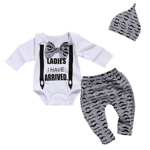 Baby Boy Clothes Set Newborn Clothes Bow Tie Bodysuits+Mustache Print Pant+Cap Autumn Kids Clothes Soft Breathab D30 - shopbabyitems
