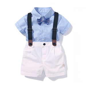 Baby Boy Clothing Shirt Bow Set Birthday Formal Suit Summer Newborn Boys Clothes Set  Blue Shirt Top+Suspender Pants Outfits - shopbabyitems