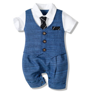 Baby Boy Handsome Rompers Little Gentleman Tie Outfit Newborn One-piece Cotton Clothing Button Jumpsuit Boys Party Suit Dress - shopbabyitems