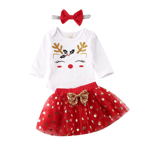 Baby Christmas Clothes Sets Girl My 1st Romper Tops +Dot Tulle Dress+Headband Xmas Outfits Party Costume - shopbabyitems