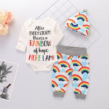 Load image into Gallery viewer, Baby Clothes For Boys&Girls Newborn Baby Clothes Set 3Pcs Rainbow Print Bodysuits+Pants+Hat Long Sleeve Winter Baby Outfits D35 - shopbabyitems