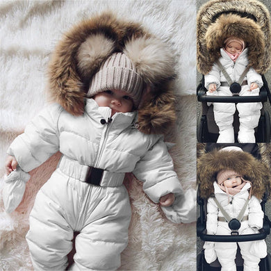 Baby Down Jacket Jumpsuit Winter Newborn Baby Jacket Winter Fashion Solid Thick Hooded Warm Romper Baby Winter Warm Bodysuit - shopbabyitems