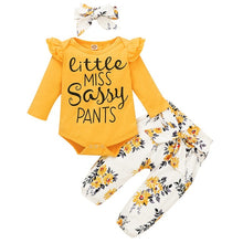 Load image into Gallery viewer, Baby Girl Clothes Newborn Infant Girls 3PCs Long Sleeve Frilly Romper Top + Flowers Leggings Pants + Headband Outfits 0-18M D30 - shopbabyitems