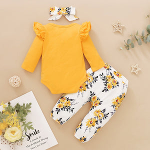 Baby Girl Clothes Newborn Infant Girls 3PCs Long Sleeve Frilly Romper Top + Flowers Leggings Pants + Headband Outfits 0-18M D30 - shopbabyitems