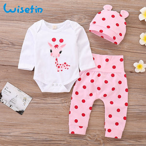 Baby Girl Clothes Set Long Sleeve Newborn clothing for baby Bodysuit Cute girl clothing baby girl fall clothes newborn outfitD35 - shopbabyitems