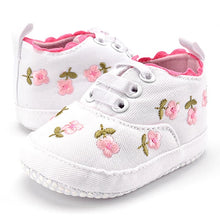 Load image into Gallery viewer, Baby Girl Shoes White Lace Floral Embroidered Soft Shoes Prewalker Walking Toddler Kids Shoes First Walker - shopbabyitems