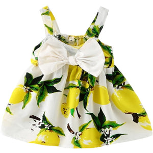 Baby Girls Clothes 2019 Sleeveless fruit Print Cotton Children Dresses - shopbabyitems