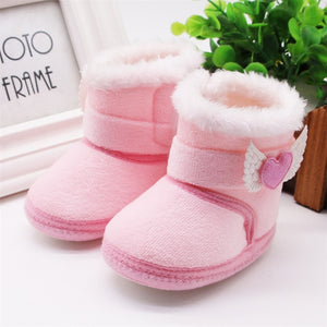 Baby Girls Newborn Baby Shoes High-top Solid Color Snow Boots Baby Boy Cuffed Sleeves Plus Velvet Thick Cotton Boots Cotton Shoe - shopbabyitems