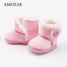 Load image into Gallery viewer, Baby Girls Newborn Baby Shoes High-top Solid Color Snow Boots Baby Boy Cuffed Sleeves Plus Velvet Thick Cotton Boots Cotton Shoe - shopbabyitems