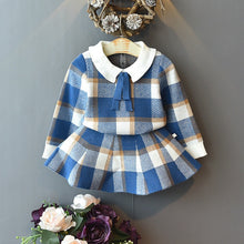Load image into Gallery viewer, Baby Girls Winter Clothes Set Christmas Outfits Kids Girls Plaid Knit Sweater&skirt Fall Girl Clothing Set Children Costume - shopbabyitems