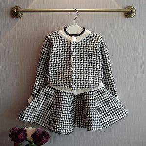 Baby Girls Winter Clothes Set Christmas Outfits Kids Girls Plaid Knit Sweater&skirt Fall Girl Clothing Set Children Costume - shopbabyitems