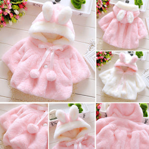 Jacket Rabbit Ear Hooded Outerwear Kids Jacket for Girls Clothing - shopbabyitems