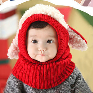 Baby Hats Cute Toddler Crochet Beanie Kids Girls Boys Hats Coif Hood Kintted Woolen Scarves Caps Winter Warm Cap Lamb Fur Hats - shopbabyitems
