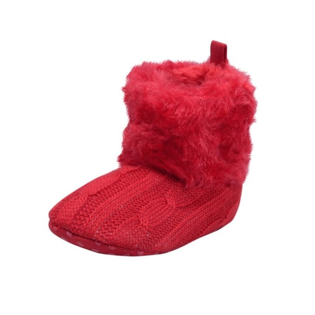 Baby Kid Boys Girls Knitted Fur Snow Boots Toddlers - shopbabyitems