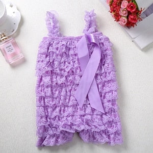 Baby Lace Rompers Infant Lace Romper with Straps Ribbon Bow Kids - shopbabyitems