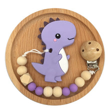 Load image into Gallery viewer, Baby Pacifier Clip Chain Cartoon Dinosaur Teether Wooden Beads Dummy Clip - shopbabyitems
