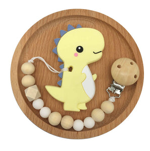 Baby Pacifier Clip Chain Cartoon Dinosaur Teether Wooden Beads Dummy Clip - shopbabyitems