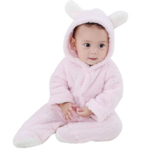 Baby Rompers Winter Warm Longsleeve Coral Fleece Newborn Baby Boy Girl Clothes Infant Jumpsuit Animal Overall Pajamas - shopbabyitems