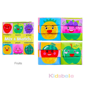 Baby Soft Books Toys For Toddlers Colorful Mix&Match Colorful Crinkle Early Learning Educational Toys For Infant 0-24 Months - shopbabyitems
