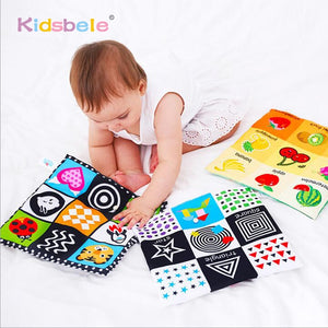 Baby Toys For Newborn Soft Cloth Book 0-12 Months Kids Learning Educational Black/White Cognition Rustle Sound Newspaper - shopbabyitems