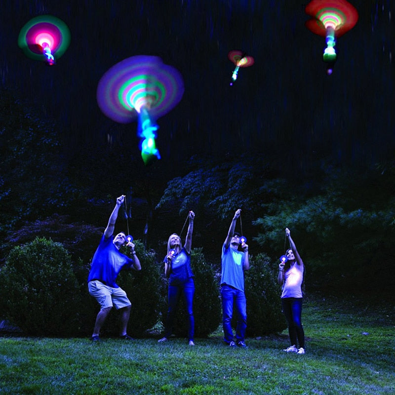 Bamboo Dragonfly with light Shooting Rocket Flying parachute Sky UFO Outdoor night game toy for kid children - shopbabyitems