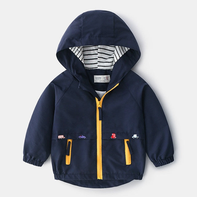 Boys Spring Autumn Coats Kids Jackets Toddler Hooded Windbreaker With Pocket - shopbabyitems