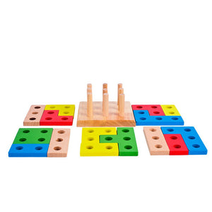 Wooden Montessori Building Blocks Column Shapes Stacking Toys - shopbabyitems
