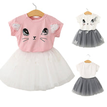 Load image into Gallery viewer, Baby Girls Outfits Clothes Cat Print Short Sleeve - shopbabyitems