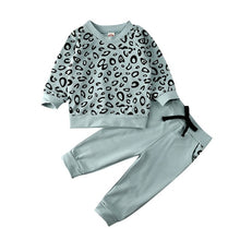 Load image into Gallery viewer, CYSINCOS Children's Round Neck Long Sleeve Leopard Print Sweatshirt Solid Color Trousers Boys And Girls Two-piece Kids Clothing - shopbabyitems