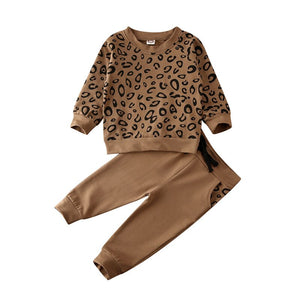 CYSINCOS Children's Round Neck Long Sleeve Leopard Print Sweatshirt Solid Color Trousers Boys And Girls Two-piece Kids Clothing - shopbabyitems