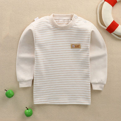 CYSINCOS Kids Warm Clothes Long Sleeve T Shirts Baby Striped T-Shirt Boys Cotton Sleepwear Clothing Girl Tee Shirts clothing - shopbabyitems