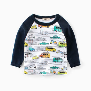 CYSINCOS Spring and Autumn Long Sleeve Boys Cartoon Car Print T-shirt  Kids Clothes Baby Casual Tops Tees Children T Shirt - shopbabyitems
