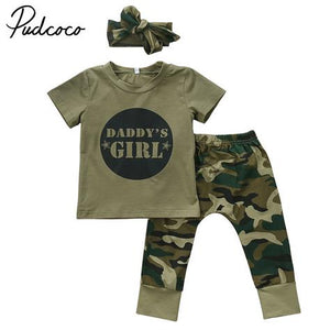 Camouflage Baby DADDYS Boys Girls Clothes Newborn T-shirt Tops Pants Outfits Set Clothes Casual - shopbabyitems