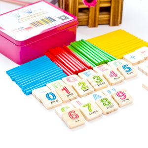 Child Wooden Mathematics Numbers Sticks - Early Learning Counting Educational Toy - shopbabyitems