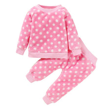 Load image into Gallery viewer, Children Pajamas 2pcs Long Sleeve Flannel Kids Sleepwear Baby Girl Clothes Suits Autumn Polka Dot Child Pyjamas Nightwear D30 - shopbabyitems